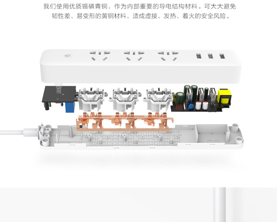 Original Xiaomi Mi Smart Power Strip with 3 USB Ports WiFi Wireless Home APP Remote Control Timing Switch Socket Plug 1.8m Long (7)