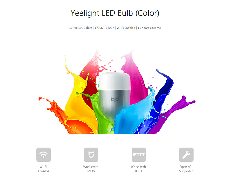 Xiaomi Yeelight II E27 9 W 600 Lumens Smart LED Bulb Mi Light WiFi Smart Phone Remote Control (1)